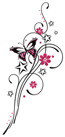 Tribal mit Sternen und Schmetterling, rosa und schwarz Illustration