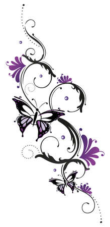 tendrils: Tribal with butterfly, black purple Illustration