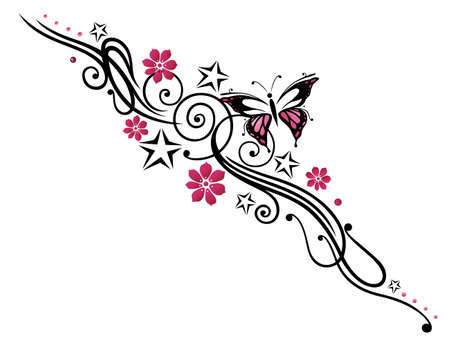 pink flower: Black and pink tribal with butterfly Illustration