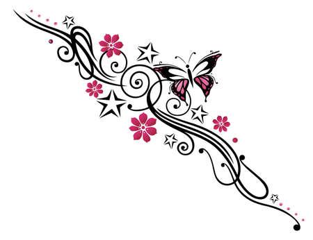 farfalla tatuaggio: Nero e tribali rosa con farfalla
