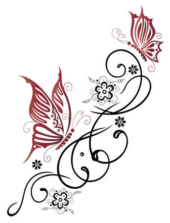 Feminine, filigree tribal with flowers and butterfly Vector