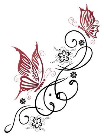 farfalla tatuaggio: Femminile, in filigrana tribale con fiori e farfalle Vettoriali
