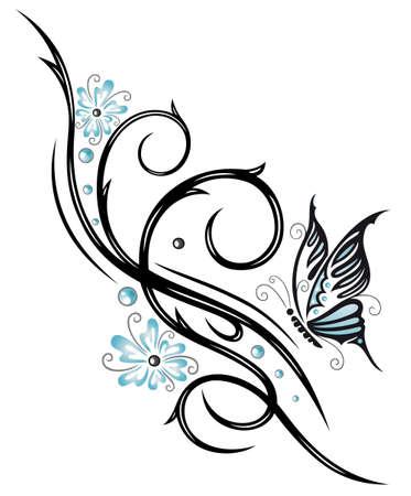 tatouage papillon: Fleurs bleues, tribal avec des papillons Illustration