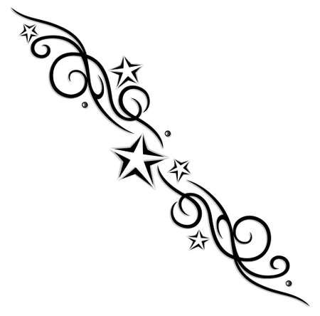 Tribal, tattoo with stars