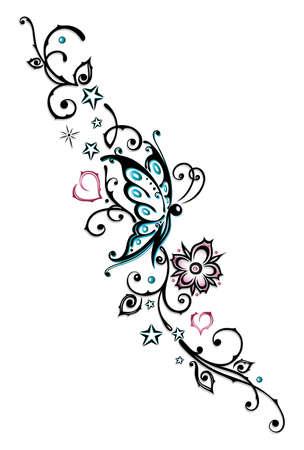 Abstrakt Stammes, Tätowierung mit Schmetterling Illustration