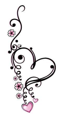 Black, pink vector series, valentines day Illustration