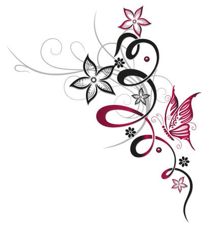 Ranke mit dekorativen Blumen, rot und schwarz