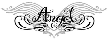 engel tattoo: Beschriftung Engel mit Flügeln, Tattoo-Stil