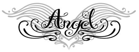tribal wings: Lettering angel with wings, tattoo style Illustration