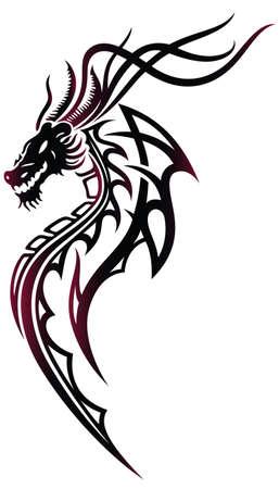 tribales: Fantasy dragón en rojo y negro, estilo tribal