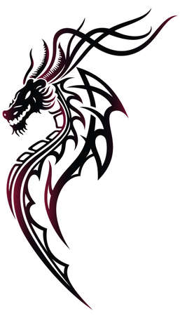 Fantasy dragon in red and black, tribal style