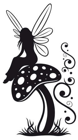 Little fairy on a mushroom, black art Vector