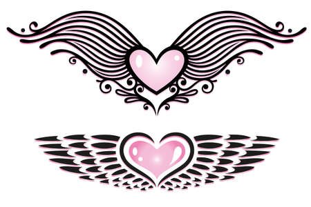 wings vector: Heart with wings, vector set in pink and black Illustration