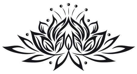 tatouage fleur: En filigrane fleur de lotus, vecteur noir
