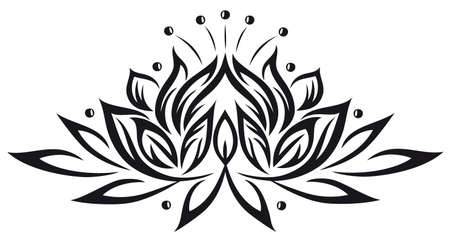flower tattoo: Filigree lotus flower, black vector