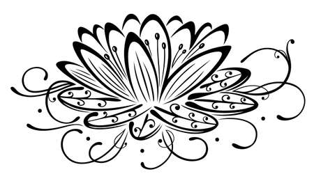 flor de loto: Flor de loto filigrana, vector negro