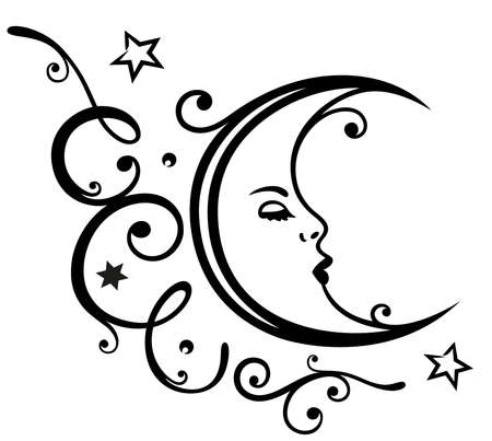 Moon and stars, with filigree tendril