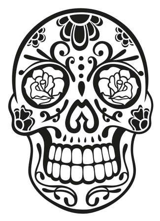 skull and flowers: Cr�neo mexicano del az�car tradicional en negro Vectores
