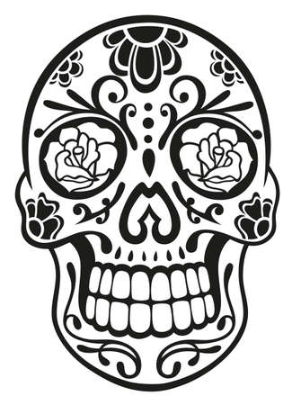 skull tattoo: Traditional mexican sugar skull in black