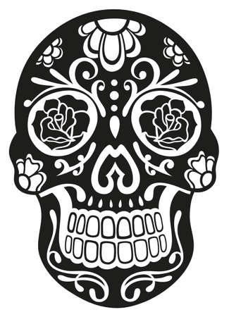 calaveras: Cr�neo mexicano del az�car tradicional en negro Vectores