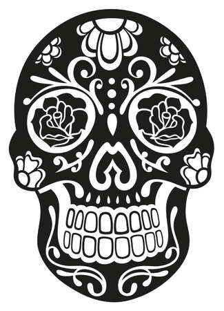 Traditional mexican sugar skull in black Vector