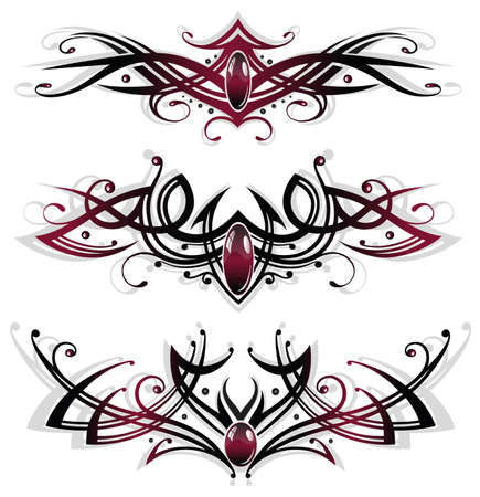 Tattoos, tribals with gems in red and black Vector