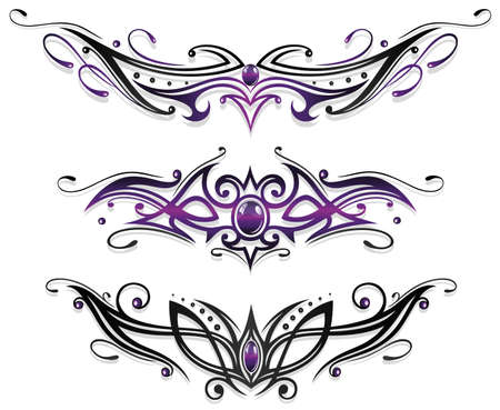 Tattoos, tribals with gems in purple and black Vector