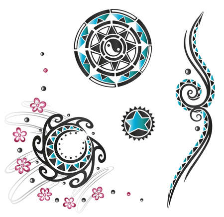 star tattoo: Haida tattoos in black and turquoise