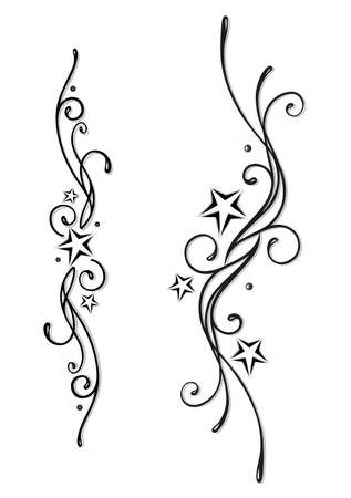 Tattoo, Tribal with stars in black and grey Vector