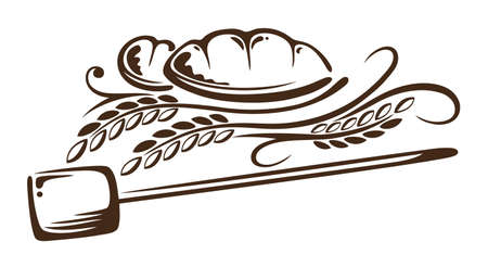 Grain and bread, bakery design element Illustration