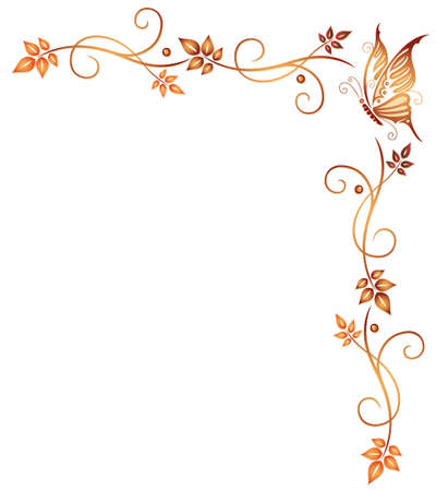 Orange tendril with leaves and butterfly, autumn