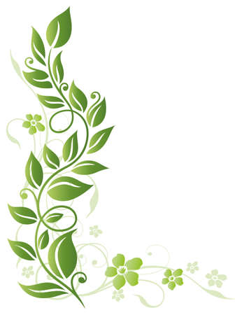 tendril: Green flowers, spring vector