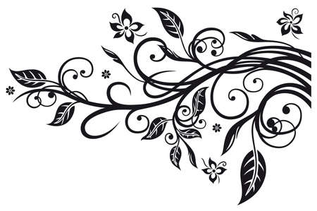 Black flowers and leaves, floral elements