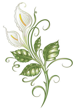 grasses: White flowers, lilies