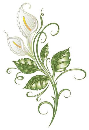 white: White flowers, lilies