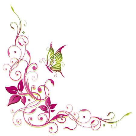 Bunte Ranke mit Schmetterling, rosa und grün Illustration