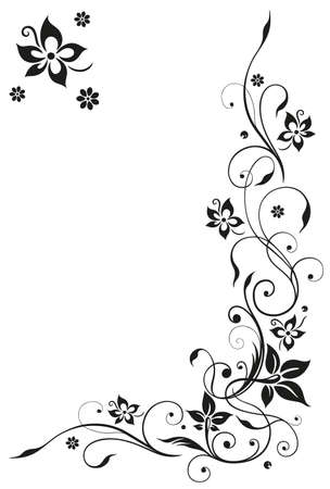 Abstract, floral tendril, black vector Illustration
