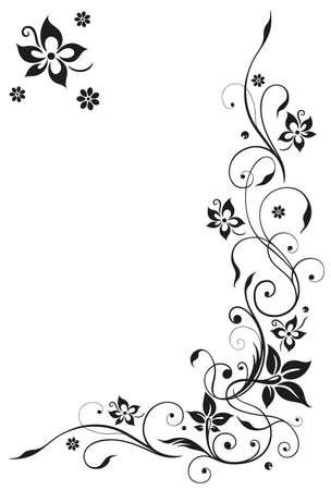 Abstrakt, Blumenranke, schwarz Vektor
