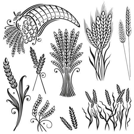 cornfield: Grain set, black design elements