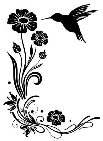 hummingbird: Abstract flowers with hummingbird, black