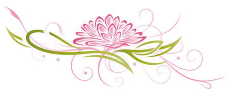 Colorful abstract and filigree lotus in pink and green