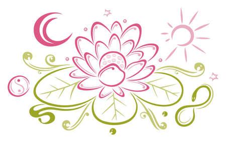 Bunte Lotus mit Mond und Sonne Lizenzfreie Bilder - 22065984