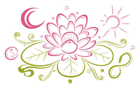 Colorful lotus with moon and sun