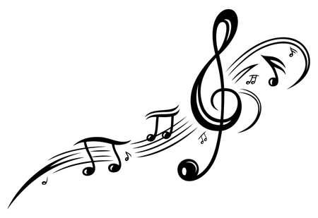Notenschlüssel mit Musiknoten, schwarzen Stammes Lizenzfreie Bilder - 22066014