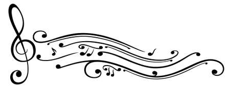 Clef with music notes, vector
