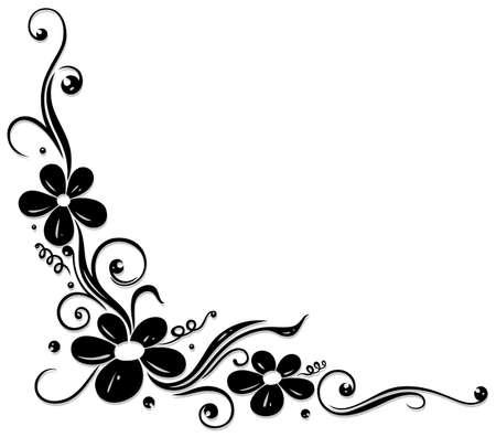 tendrils: Floral element, black tendril with flowers Illustration