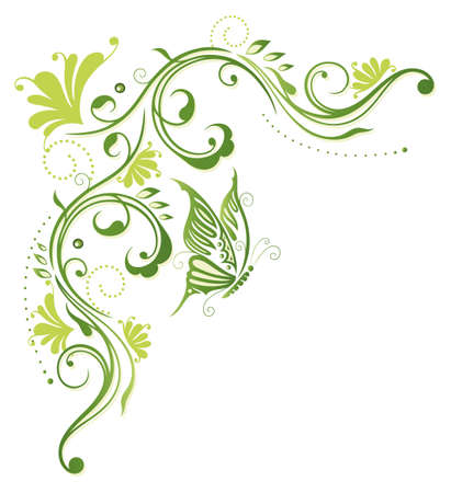 Abstract green flowers with butterfly, border