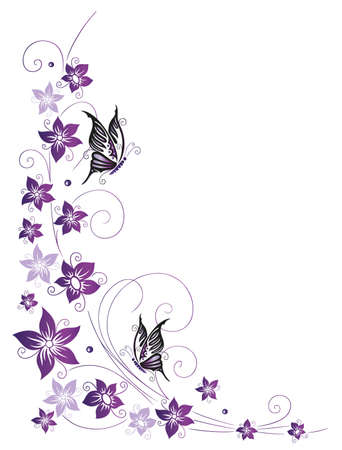 Filigree Ranken mit Blüten und Schmetterlingen
