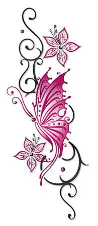 Floral Tribal mit Schmetterling in schwarz und pink Illustration