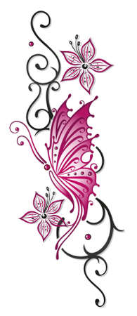 tribal design: Floral tribal with butterfly in black and pink
